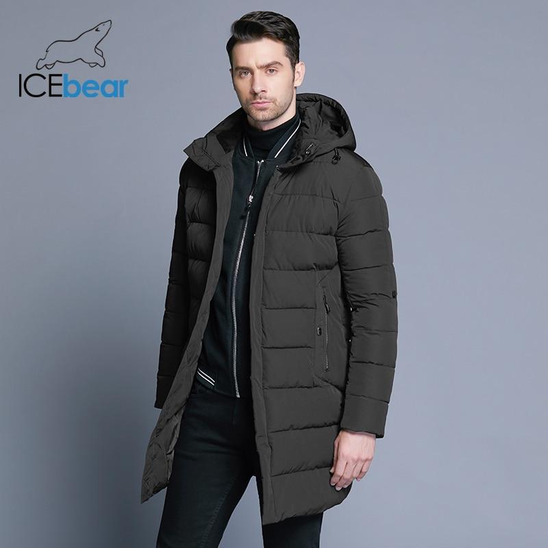 ICEbear 2019 зимняя куртка мужская шляпа съемная теплая куртка повседневные Мягкие хлопковые ветровки зимняя куртка мужская одежда MWD18821D