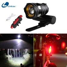 350 люмен USB Перезаряжаемый велосипедный светильник передний и задний T6 светодиодный светильник s Набор антибликовый безопасный Ближний/Дальний светильник подходит для всех велосипедов