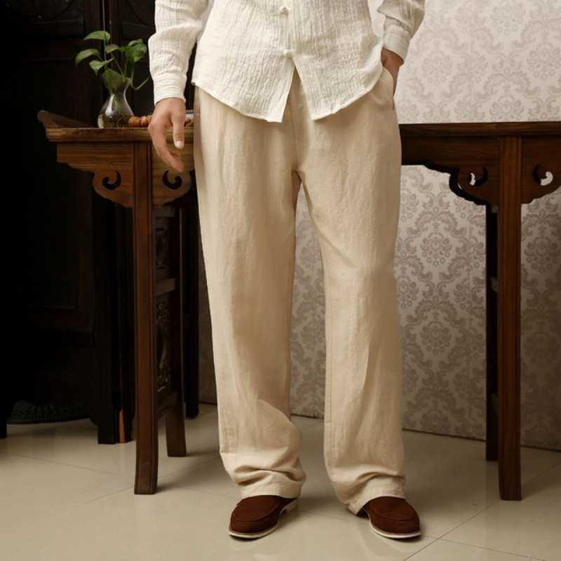 2020 Summer Autumn Men Vintage Pants Linen Cotton Plus Size 5XL 6XL Full Length Pants Chinese Style Casual Solid Loose Trousers