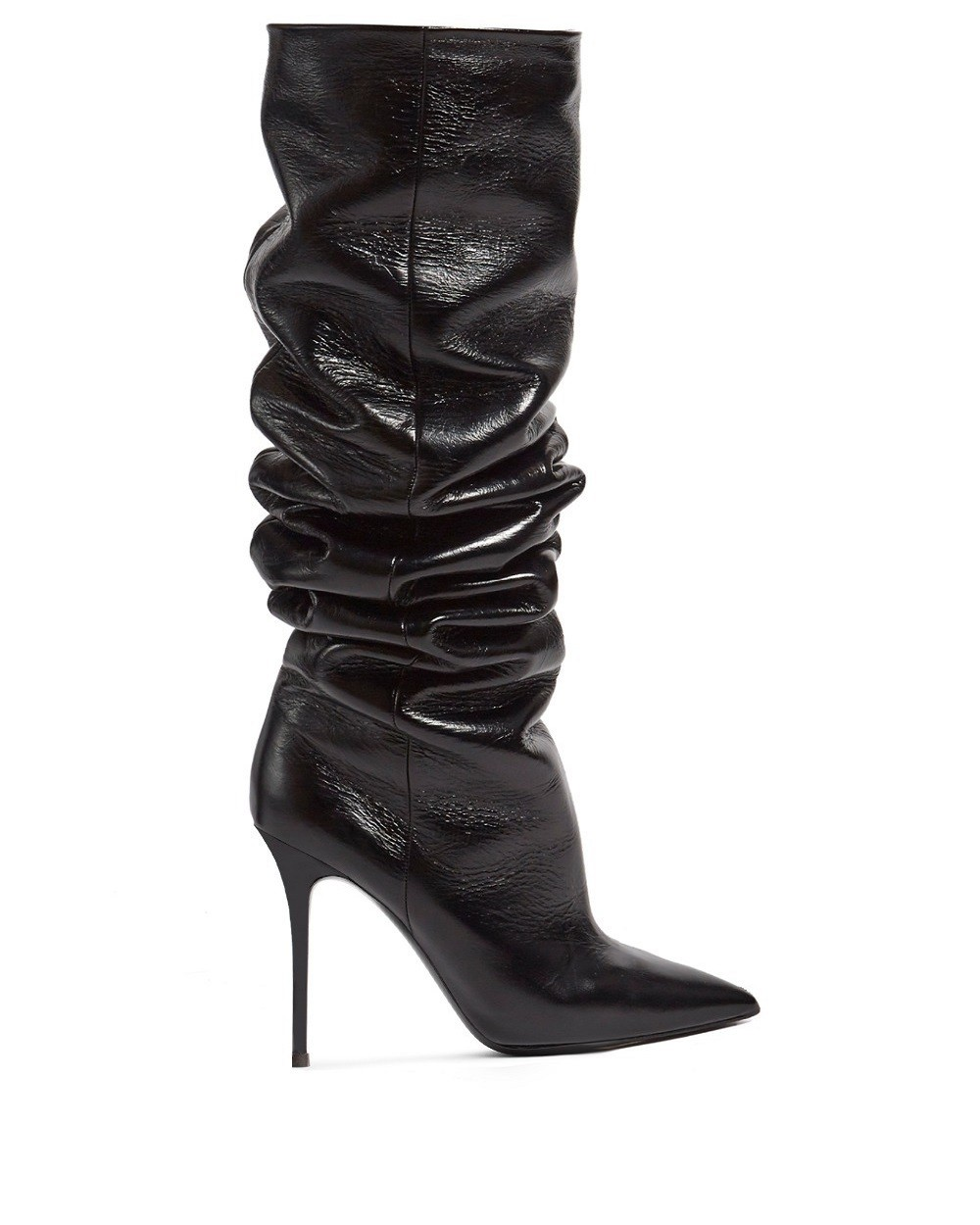 Women's Long Boot Black Pointed Toe Pleated Folds Thin Heels High Heel Knee High Boots Genuine Leather Shoes Woman Botas De Muje