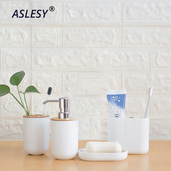 Toothbrush Holder Toilet Brush Cup Soap Bamboo Bathroom Set Holder Press Emulsion Dispenser Container Bathroom Accessories 3pcs bathroom accessories toothbrush holder ceramic green plant couple toothpaste cup holder with bamboo tray nordic cups set