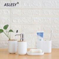 Zahnbürste Halter Wc Pinsel Tasse Seife Bambus Bad Set Halter Drücken Sie Emulsion Dispenser Container Bad Zubehör