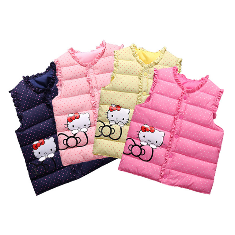 Girls Autumn Winter Outwear Sleeveless Jacket Girls Quality Feather Cotton Hello Kitty Style Top Cotton Vest Kids For Girls Vest