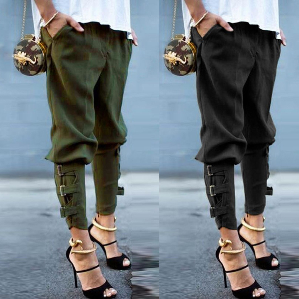 Women Solid Bandage Elastic Waist Pencil Pants Autumn All-match Trousers