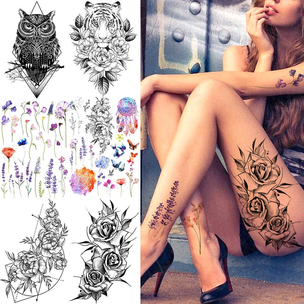 COKTAK Sexy Watercolor Lavender SweetPeas Flower Blossom Temporary Tattoos Sticker Fake Tattoo For Women Girl Art Daisy Tatoos