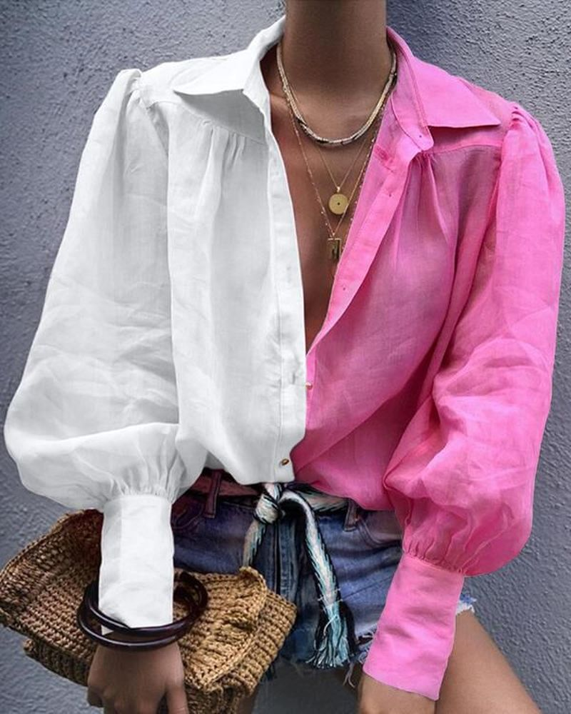 Colorblock Striped Lantern Sleeve Women Blouse Shirt Casual Long Sleeve Autumn Shirt Tops Streetwear