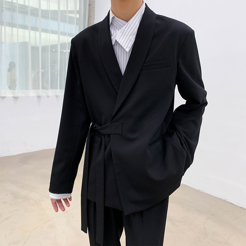 2019 Autumn And Winter New Youth Korean Version Of The Solid Color Ribbon Fashion Casual Suit Jacket Simple Loose Shirt