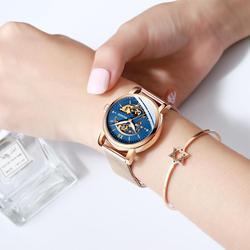 HAIQIN złota pani zegarki top marka luksusowy zegarek na rękę panie mechaniczny zegarek wodoodporny skórzany relogio feminino 2019
