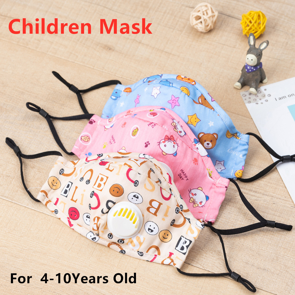 Cute PM2.5 Washable Mouth Mask With Valve Kids Children Anti Haze Dust Mask Face Mask With FilterProtective Mask PK FFP3 Fpp3