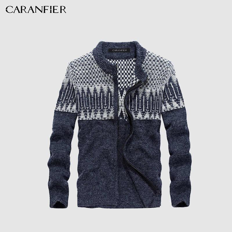 CARANFIERฤดูหนาวผู้ชายถักเวตเตอร์ถักเสื้อกันหนาวชายผ้าฝ้ายเสื้อยืดสบายๆเต่าO-คอบางพอดีผู้ชายที่เดินทางมาพักผ่อนสไตล์คริสต์มาส