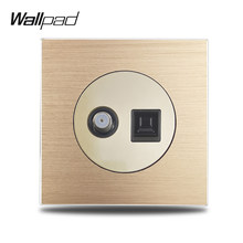 Wallpad L6 Emas Antena TV Satelit Internet Komputer Soket RJ45 CAT6 Kabel Dinding Outlet Soket Logam Aluminium Panel(China)
