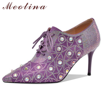 Meotina High Heels Women Shoes Kid Suede Crystal Thin High Heels Shoes Genuine Leather Rivets Pointed Toe Pumps Lady Size 34-40