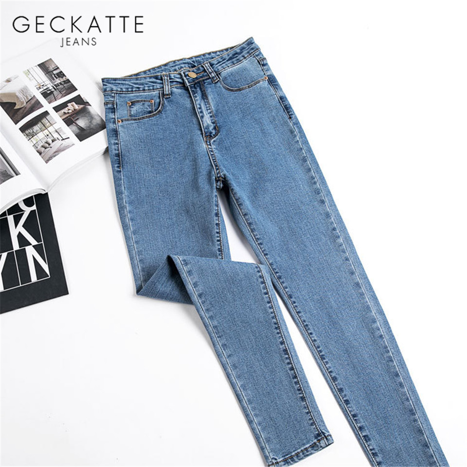 GECKATTE Skinny Jeans Woman Elastic High Waist Mom Jeans Female Denim Boyfriend Jeans Jean Pencil Pants For Women Fall 2019