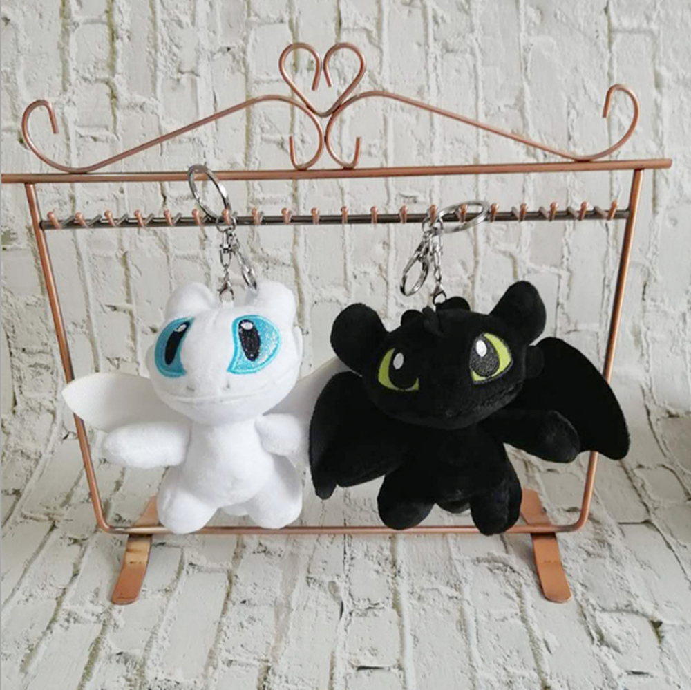 15CM new to super cute black and white dragon <font><b>plush</b></font> <font><b>toy</b></font> <font><b>key</b></font> <font><b>chain</b></font>, decorative pendant, birthday gift image