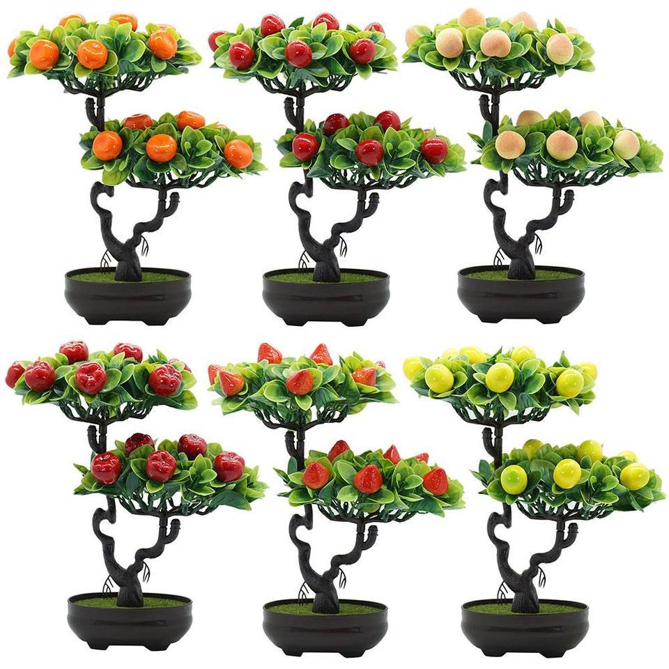 Plastic Artificial Fruit Tree Artificial Peach Orange Fruit Tree Artificial Plants Potted Bonsai Desktop Bonsai Home Decor Artificial Fruits Aliexpress