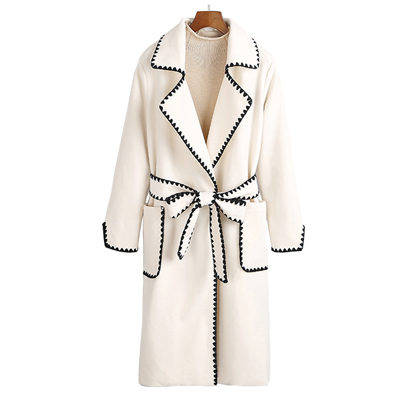 LANMREM 2019 Autumn And Winter New Casual Fashion Women Jacket Loose Plus Solid Color Wavy Side With Wool Coat TC588 7