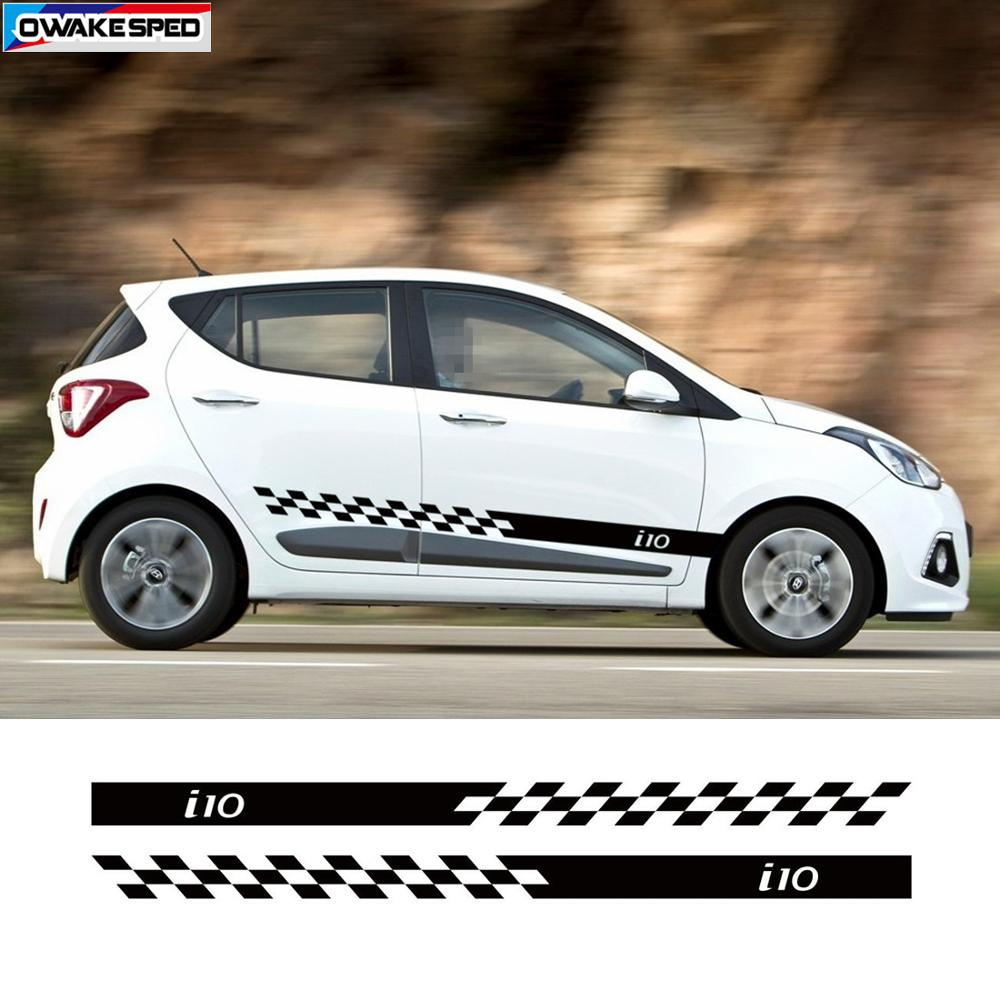 1 Set Sport Stripes Car Door Side Skirt Stickers For Hyundai I10 Racing Styling Auto Body Decor Decals