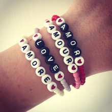 VSCO girl things love letter bracelet popular couple models acrylic handmade bead personality Jewelry