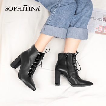 Stylish Ankle Boots Sexy Pointed Toe Lace-up Genuine Leather Handmade Boots Casual 9cm High Heel Shoes Ladies C762 Apparels Shoes