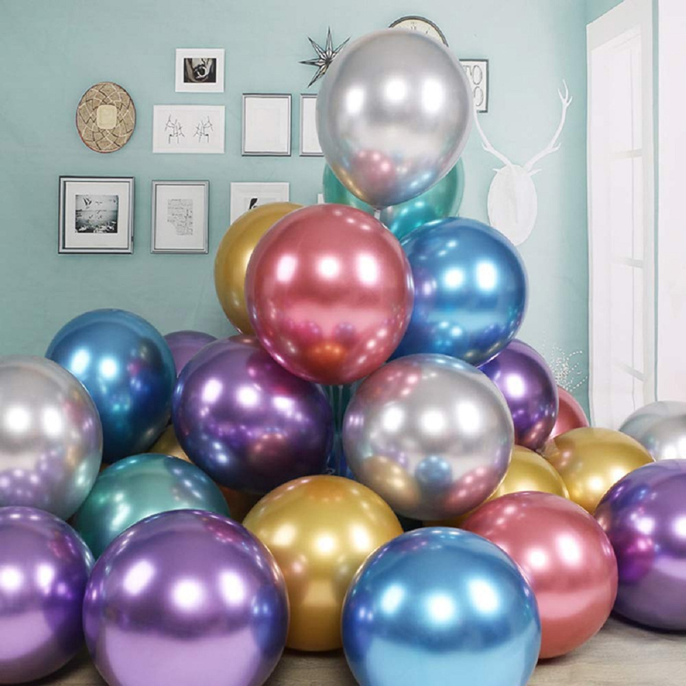 5/10/12/18inch Gold Silver <font><b>Big</b></font> round Metal <font><b>Latex</b></font> <font><b>Balloons</b></font> Wedding Matte Helium Globos Birthday Party Adult Decorations image