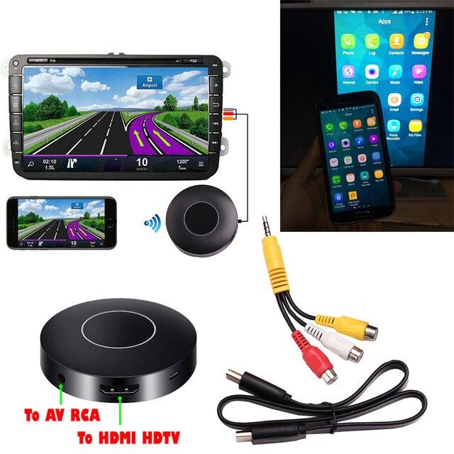 AllShare adaptador de teléfono a TV para coche, llave electrónica de espejo de pantalla DLNA Miracast Airplay, palo HDMI, inalámbrico, Wifi, AV, RCA