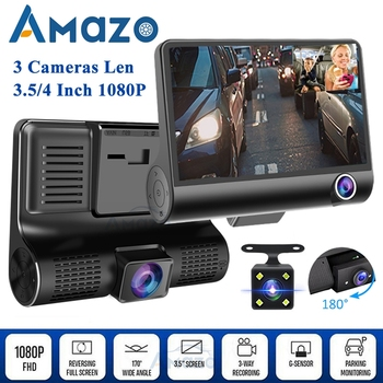 Car DVR Video Recorder Dash Camera 1080P HD Dash Cam Dual Lens Dashcam With Rear View Camera Car Front Back Inside 4 Inch image