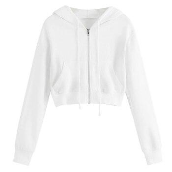 Spring 2020 Casual Hoodie Zipper Long Coat Sweatshirt Women Zip Up Loose Oversized Jacket Coat Women Hoodies Outwear Tops 11