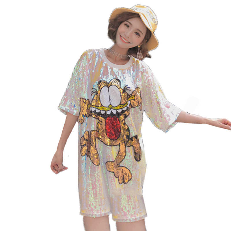 QING MO Cartoon Pattern Shirt Dress 2019 Women Summer Short Sleeve Sequin Dress Femme Pink Animal Frog Dress AD1325A