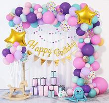 103 Pçs/lote Sereia Arco Guirlanda Bandeira do Ouro Roxo Rosa Balões De Látex Balões De Aniversário para As Meninas a Festa de Aniversário Do Chuveiro de Bebê