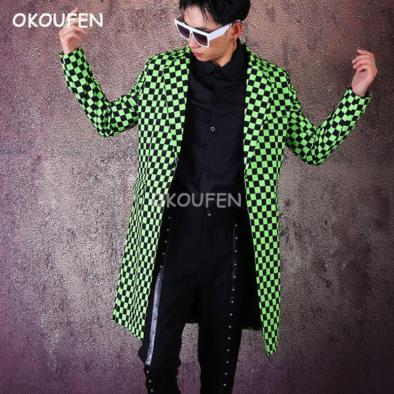 Fashion Green Printed long suit costumes nightclub bar male singer dancer  hairdresser stage show jacket