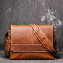 Nesitu Vintage A4 Brown 100% Thick Real Skin Genuine Crazy Horse Leather Cross Body Shoulder Men Messenger Bags for ipad M1002(China)