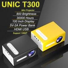 Unic t300 led mini home cinema projector media player support 1080p video pocket portable projektor vs yg300 hd projector
