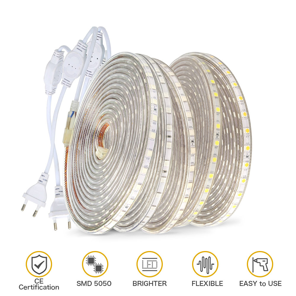 H1c1126cfb52e430ab8db9fb1004759deV 220V LED Strip Light SMD 5050 Outdoor Waterproof LED Ribbon 60Leds/M high brightness outdoor indoor decoration with EU Plug
