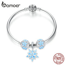 bamoer Genuine 925 Sterling Silver Winter Snowflake Princess Bangle for Women Charm Bracelet Luxury European Bijoux SCB833