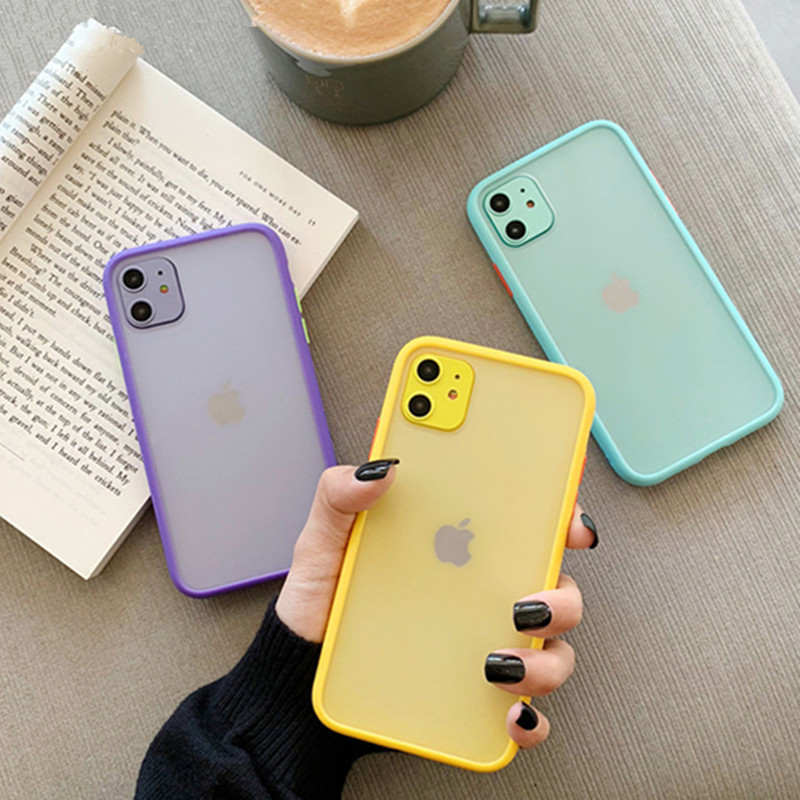 H1c1147d8ef1a4f4884b7addf10c7a01dX - Mint Hybrid Simple Matte Bumper Phone Case For iPhone 11 Pro Max XR XS Max 6S 8 7 Plus Shockproof Soft TPU Silicone Clear Cover