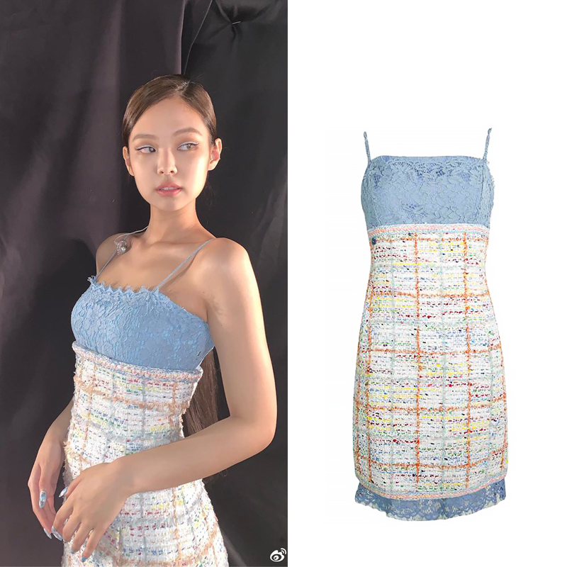 Kpop Blackpink Jennie Same Lace Plaid Splice Off-shoulder Dress Women Summer Loose Sling Sleeveless Party Elegant Ladies Dresses