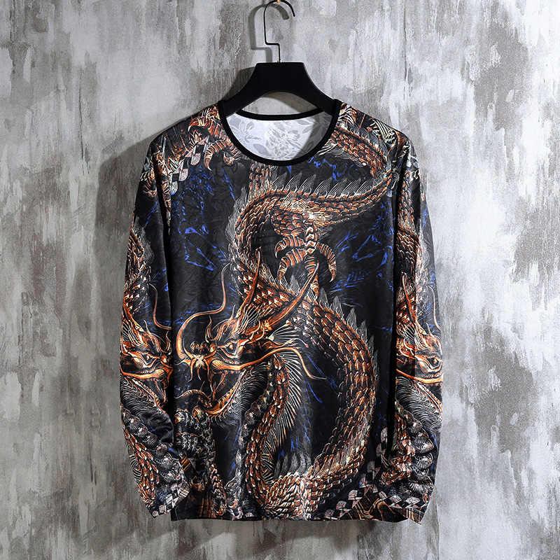 2019 秋春中国のドラゴンジャージメンズスポーツセットパーカーパンツスポーツウェア男性ブランドのスポーツスーツトラックプリントの服