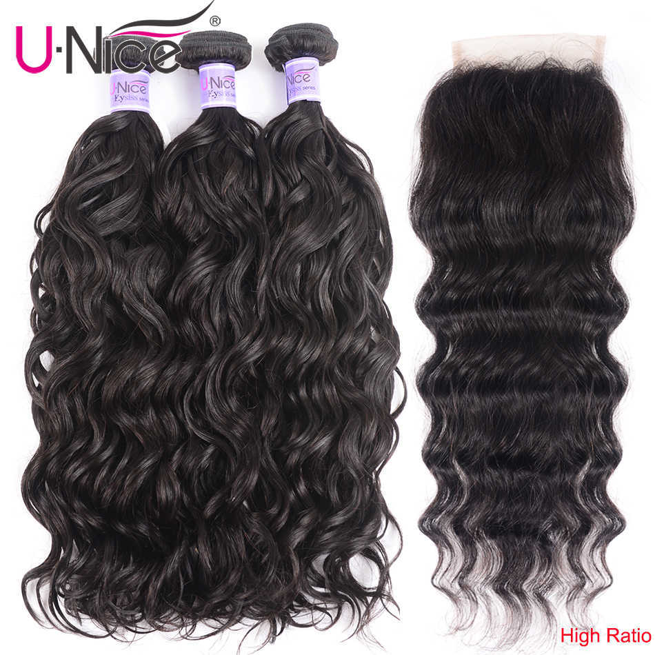 UNice Hair Kysiss Series Peruvian Natural Wave Closure 4*4 Free Part Lace Closure With 3 Bundles Human Hair Weaving Virgin Hair