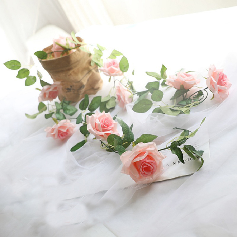 Artificial Silk Rose Vines Plastic Stems Decorative Wedding Party Rose Flowers,Artificial Fake Roses Flowers Rattan Home Decor(China)