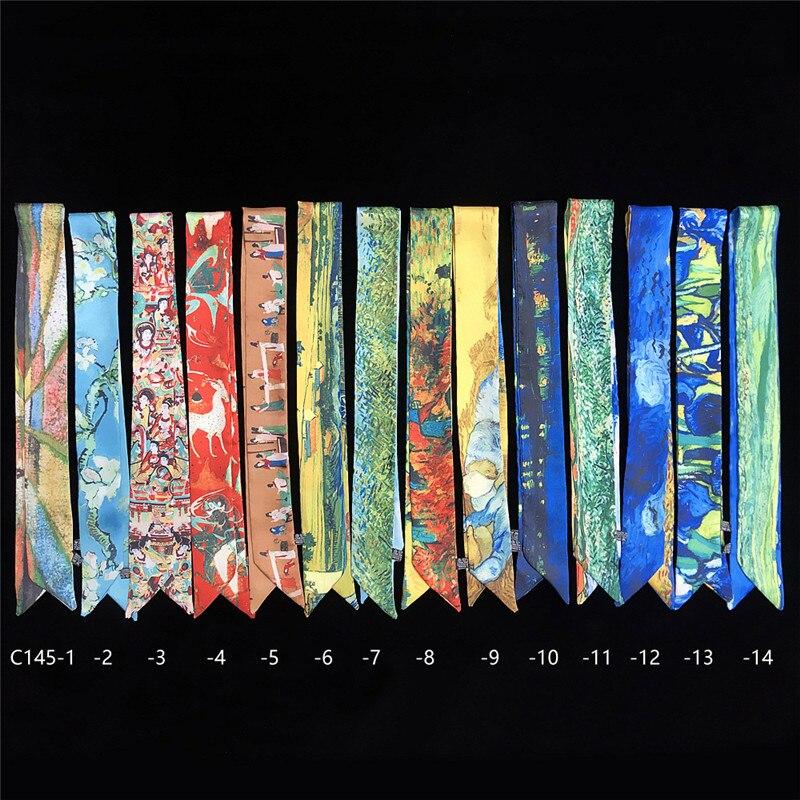 New Design Van Gogh Oil Painting Bag Scarves Skinny Scarves For Ladies Silk Scarf Women Multi-function Head Scarf Neckchief WP02