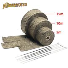 5cm*5M/10M/15M Motorcycle Exhaust Heat Shield Thermal Exhaust Tape Fiberglass Heat Wrap Pipe Heat Insulation with Stainless Ties