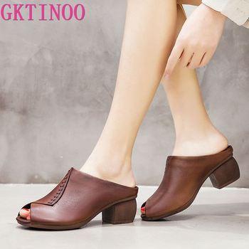 GKTINOO 2020 moda Retro pantuflas para mujer de verano Sandalias de tacón alto de cuero genuino de señora diapositivas zapatos Pantufla hecha a mano