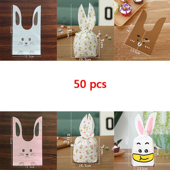 50 pieces Rabbit Long Ear Cute Present Bunny Party Bags Packing Beer Bonbonniere Gift Bag Packaging Candy Cookie Sweets Wedding image