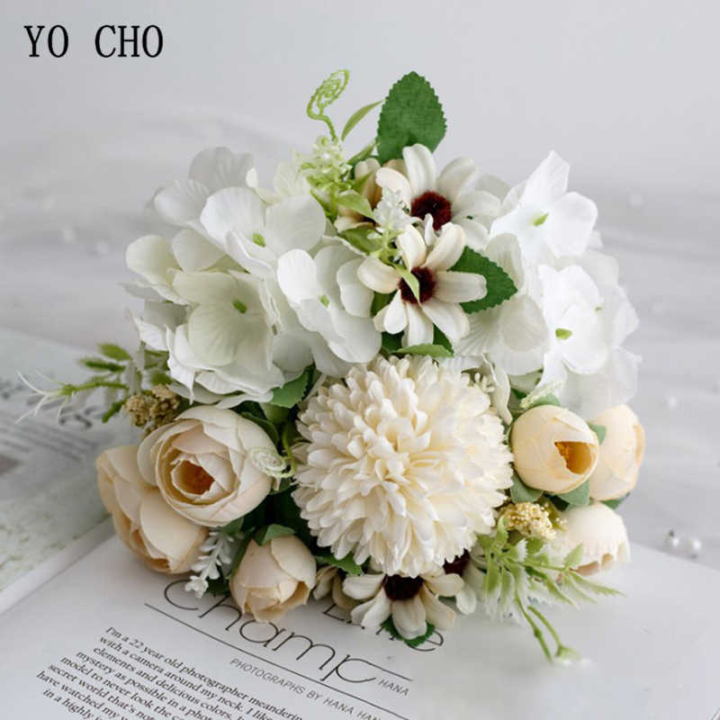 YO CHO งานแต่งงานดอกไม้ประดิษฐ์ Rose Peony ดอกไม้เจ้าสาวช่อดอกไม้ไฮเดรนเยียสีชมพู PomPom Bud วานิลลา SPIKE อุปกรณ์จัดงานแต่งงาน