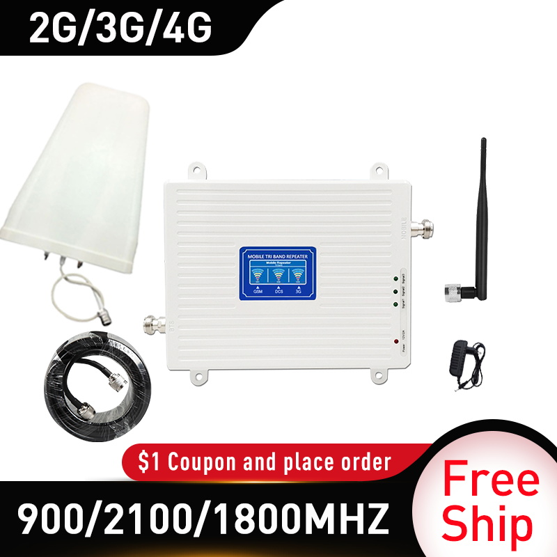 4g Booster 900/1800/2100 DCS WCDMA LTE GSM 2G 3G 4G Tri-Band Mobile Signal Booster GSM Cellular Repeater Amplifier Whip Antenna