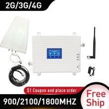 4g güçlendirici 900/1800/2100 DCS WCDMA LTE GSM 2G 3G 4G Tri  bant mobil sinyal güçlendirici GSM hücresel tekrarlayıcı amplifikatör kırbaç anten