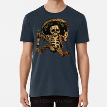 Posada Day of the Dead Outlaw T shirt day of the dead dia de los muertos posada mexican folk art sugar skull tequila booze(China)