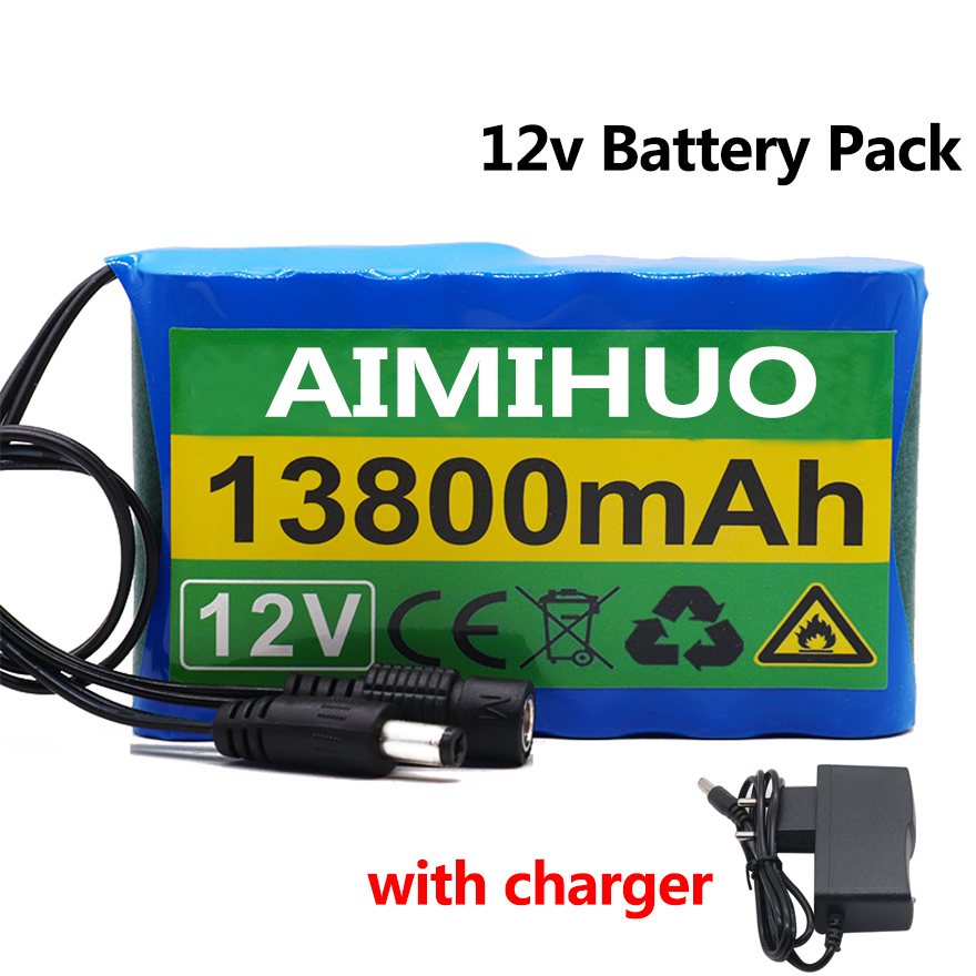 <font><b>12V</b></font> 13800mah 13.8Ah <font><b>Battery</b></font> <font><b>Pack</b></font> <font><b>18650</b></font> Rechargeable Lithium <font><b>Battery</b></font> <font><b>Pack</b></font> for CCTV Cam Monitor Camera <font><b>Battery</b></font> with EU/US Charger image