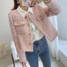 Женское твидовое пальто в клетку розовое шерстяное повседневное
