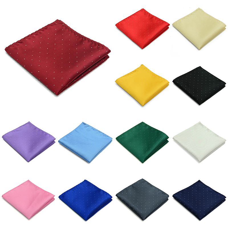 Men Dot Handkerchief Vintage Suit Square Pocket Towel Accessories Wedding Banquet Anniversary Commercial Black Red Blue
